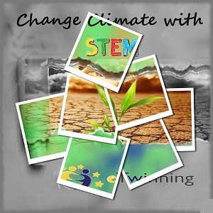 The posters-logos of the project, «Change Climate with by Chrisoula Georgakopoulou - Illustrated by Chrisoula Georgakopoulou Margarita Dakoronia - Ourboox.com