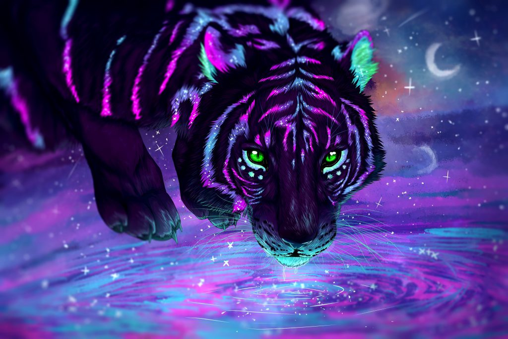 The mysterious tiger by Savannah - Illustrated by Creator: Siridhata       Credit: Getty Images/iStockphoto - Ourboox.com
