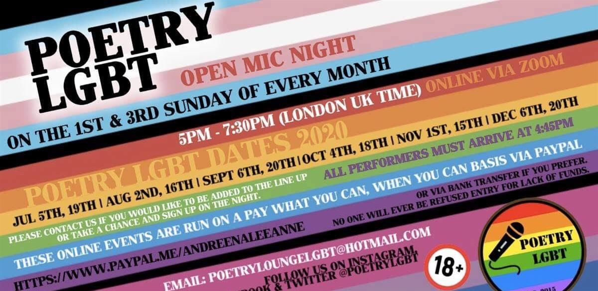 Poetry LGBT Open Mic On Zoom tickets