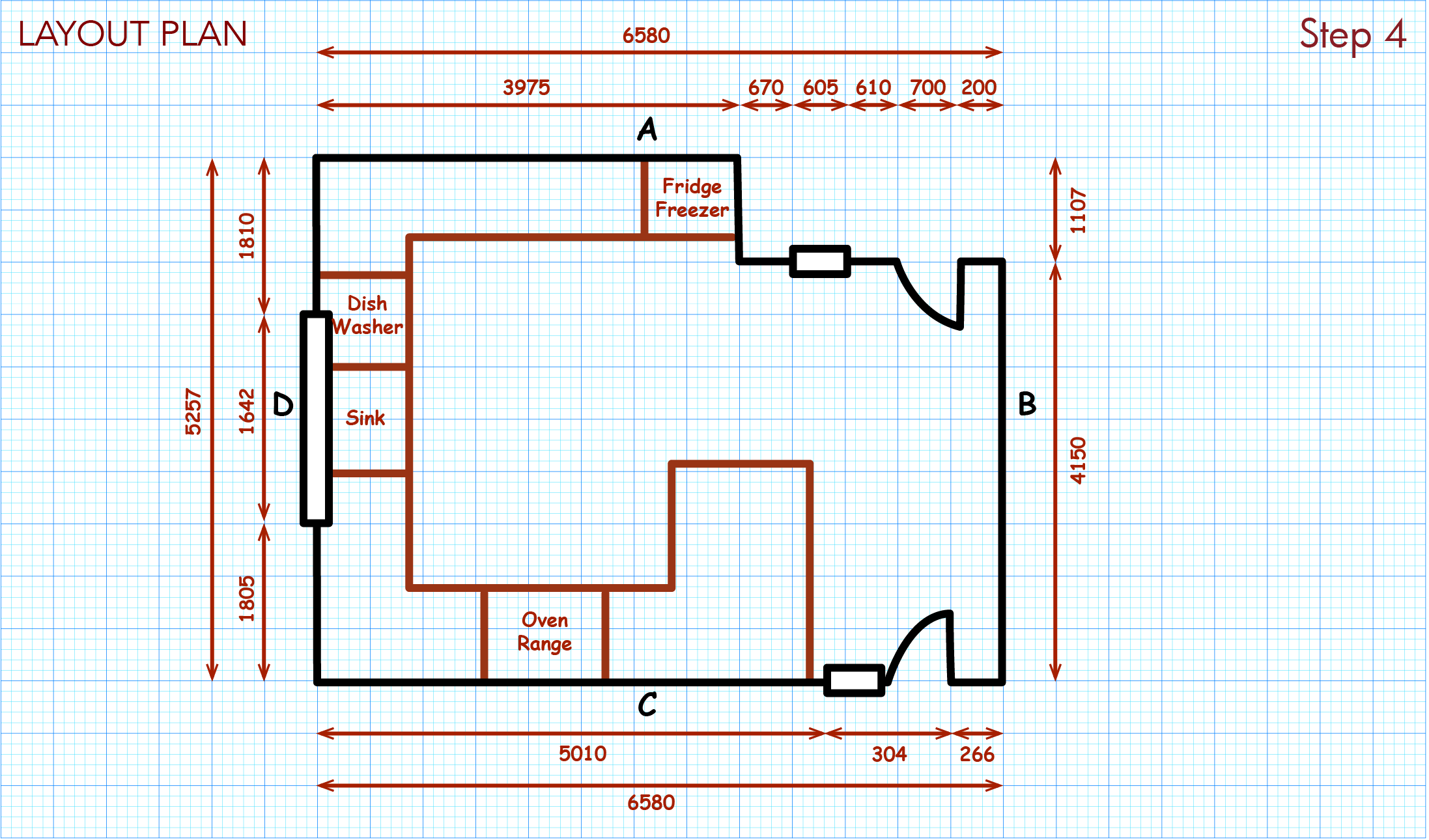 Draw design ideas on layout plan, such as locations of appliances