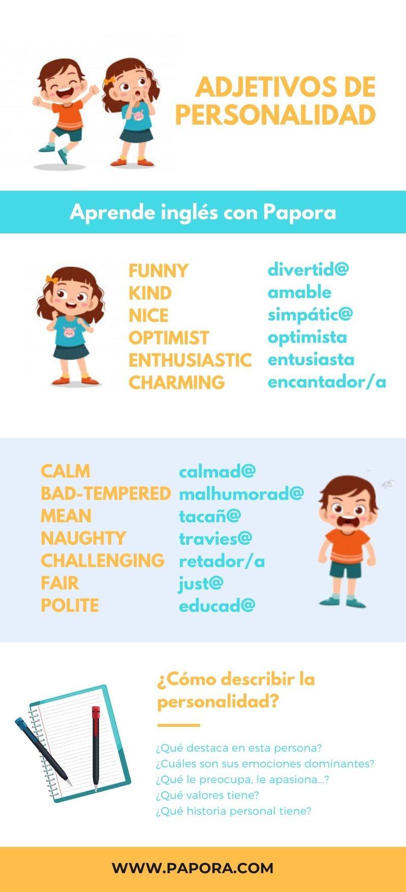 adjetivos de personalidad ingles