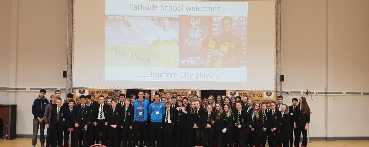 Parkside School students quiz Bradford City players