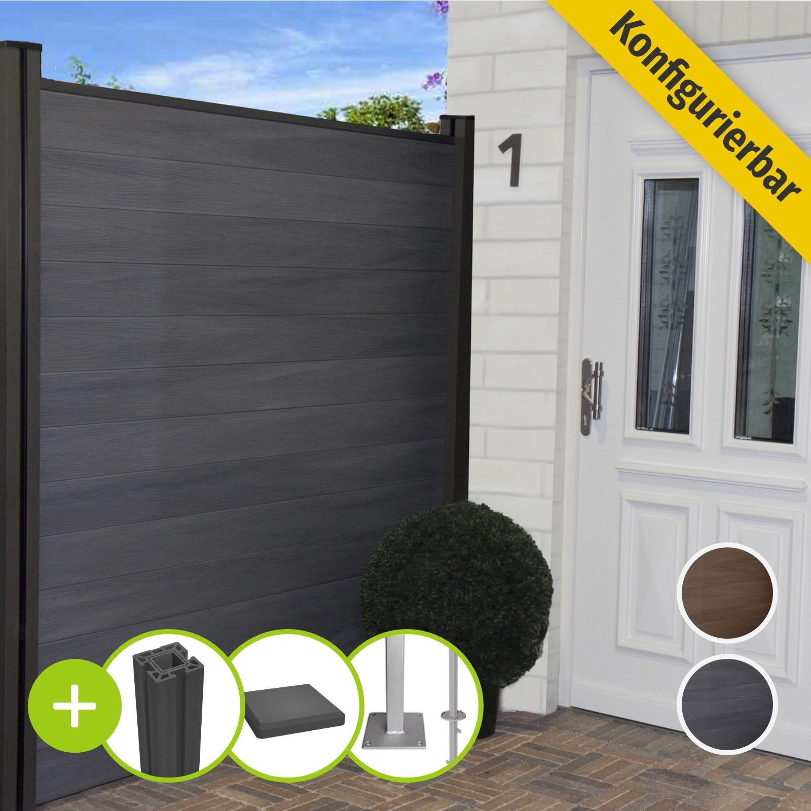 Groja Wpc Zaun Sichtschutz Gartenzaun Windschutzzaun Terrasse Grau