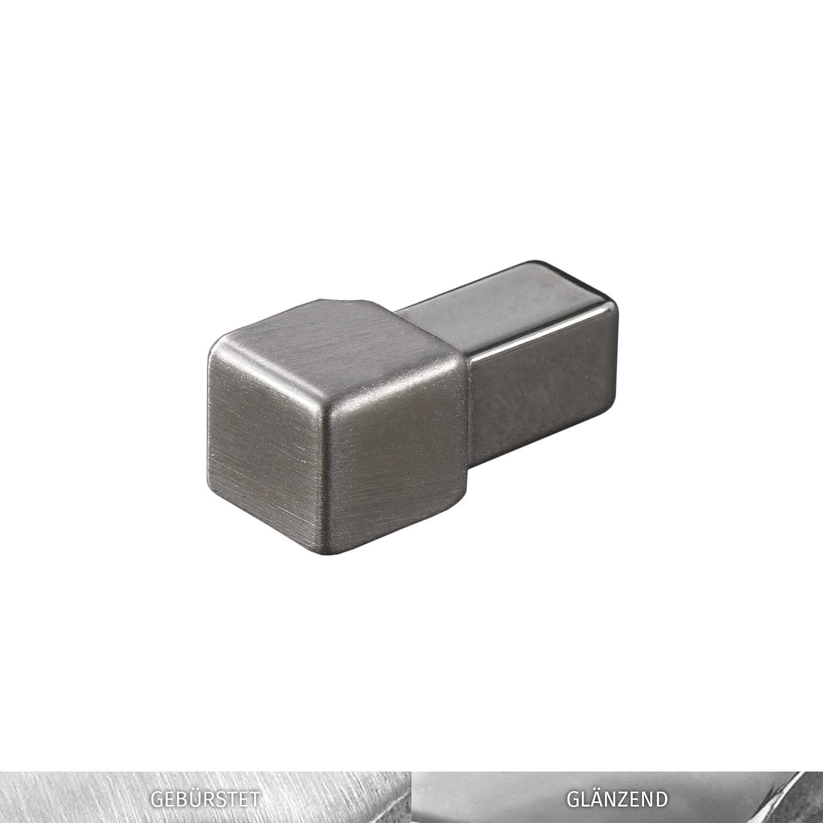 HORI Fliesenprofil I L/änge 2,50 m I Quadroprofil I H/öhe 12,5 mm I Edelstahl V2A gl/änzend
