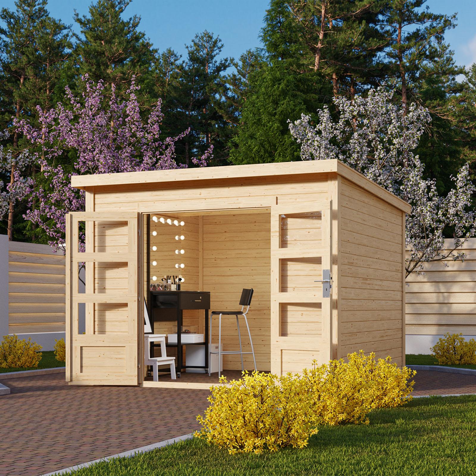 Gartenhaus 28 mm Holzhaus mit Anbau Gerätehaus Schuppen