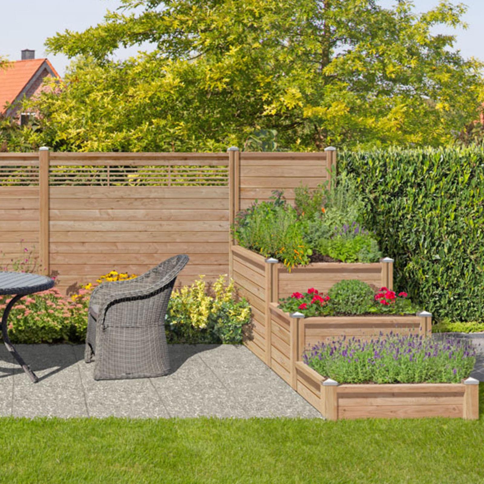 Holzzaun Sichtschutzzaun 180x180 Lamellenzaun Gartenzaun Steckzaun grau braun