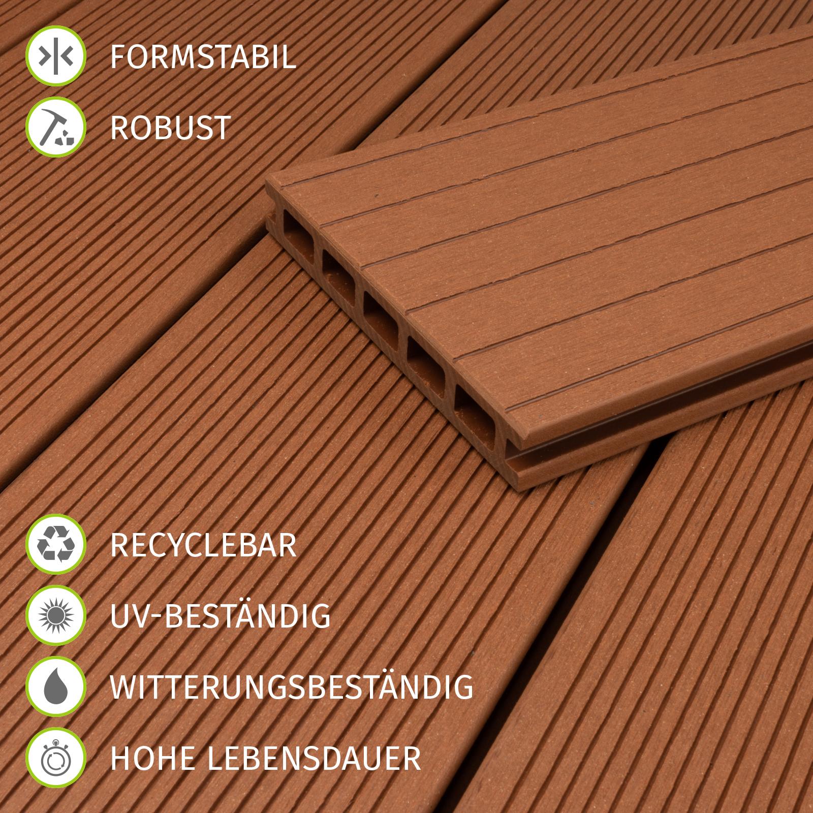80 m² BPC Komplettset Terrassendielen Bambus Holz Komplettbausatz anthrazit  WPC