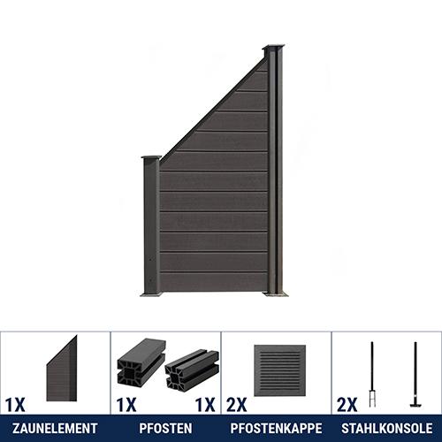 wpc zaun lamellenzaun sichtschutzzaun gartenzaun windschutz anthrazit grau braun ebay. Black Bedroom Furniture Sets. Home Design Ideas