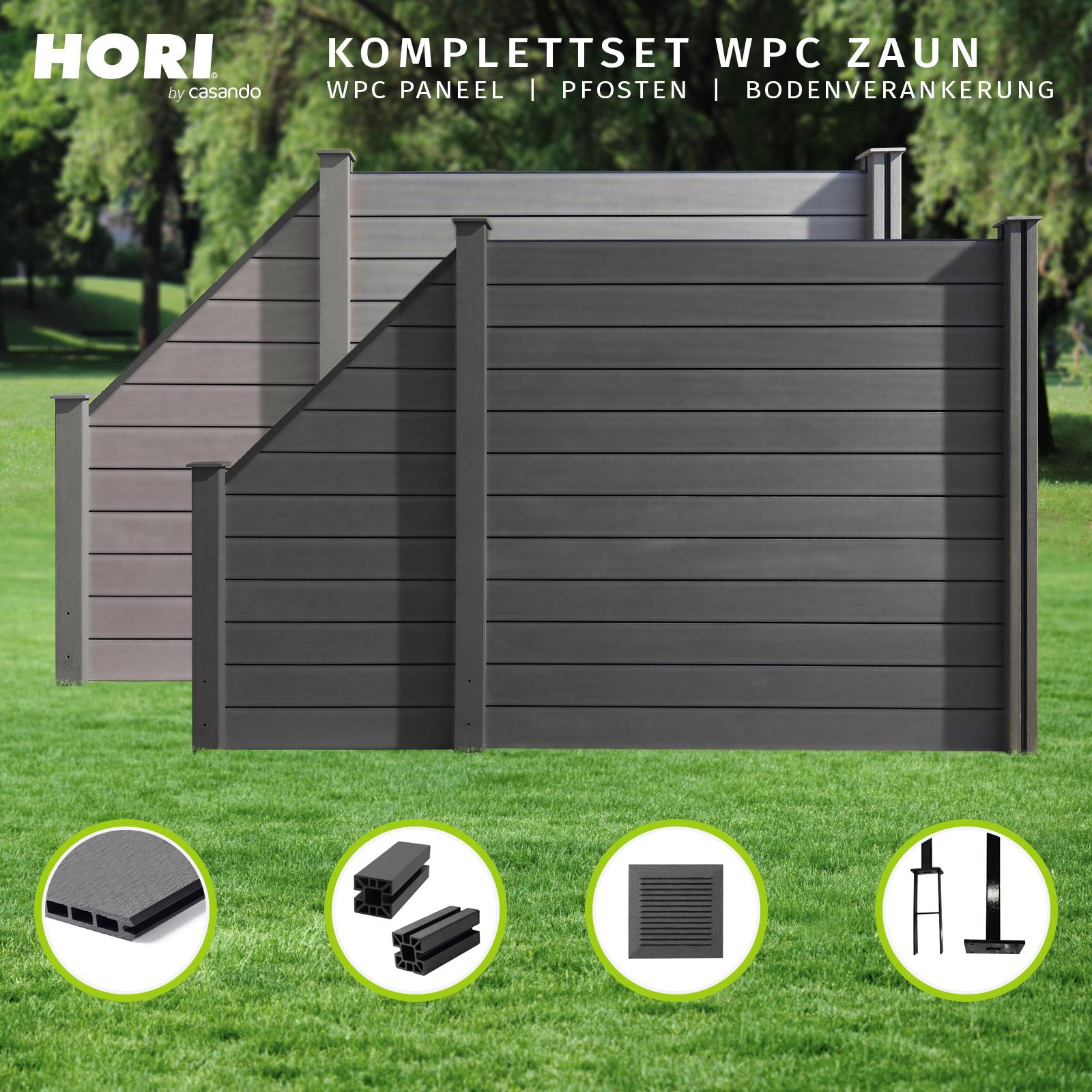 Wpc Zaun Sichtschutzzaun Lamellenzaun Gartenzaun Terrasse Grau