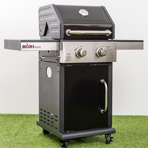hori bbq gasgrill 200 schwarz 2 brenner grillstation grill garten ebay. Black Bedroom Furniture Sets. Home Design Ideas