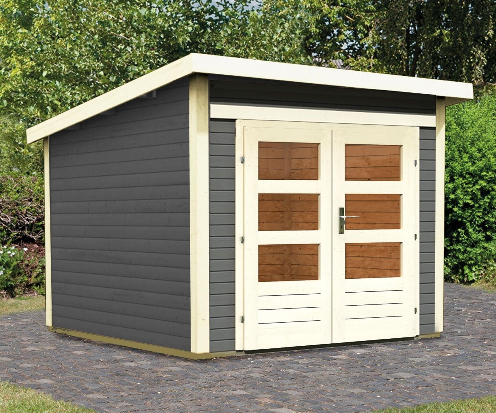 hori gartenhaus kolding 28 mm terragrau 240 x 240 x 234 cm. Black Bedroom Furniture Sets. Home Design Ideas