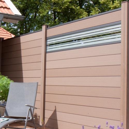 wpc zaun sichtschutz gartenzaun windschutzzaun terrasse grau braun 180 x 180 ebay. Black Bedroom Furniture Sets. Home Design Ideas