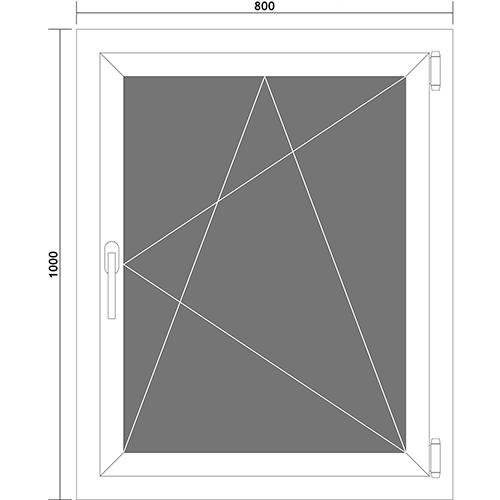 fenster kellerfenster kunststofffenster dreh kipp fenster 80 x 100 cm din rechts ebay. Black Bedroom Furniture Sets. Home Design Ideas