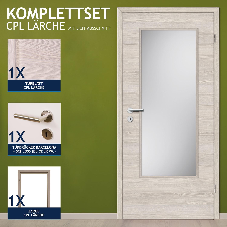 Zimmertür komplett mit zarge  HORI Zimmertür Innentür Komplettset CPL Lärche Tür mit Zarge ...