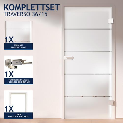Kellertür mit zarge  HORI Glastür Komplettset Zimmertür Bürotür Milchglas Traverso 15 ...