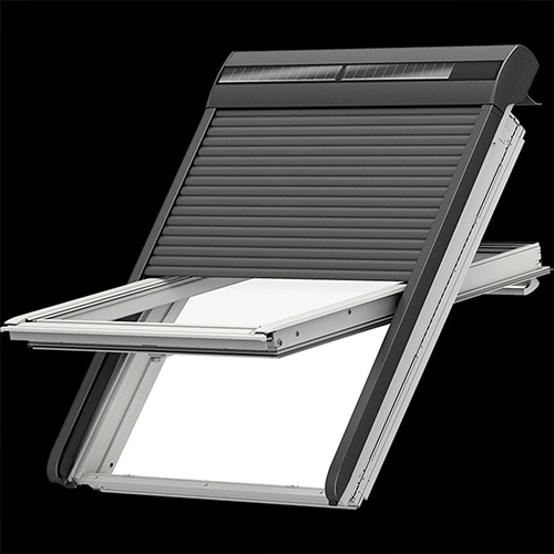 velux solar rollladen ssl 0000s aluminium dunkelgrau f r dachfenster handsender ebay. Black Bedroom Furniture Sets. Home Design Ideas