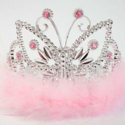 pale pink sparkly butterfly tiara