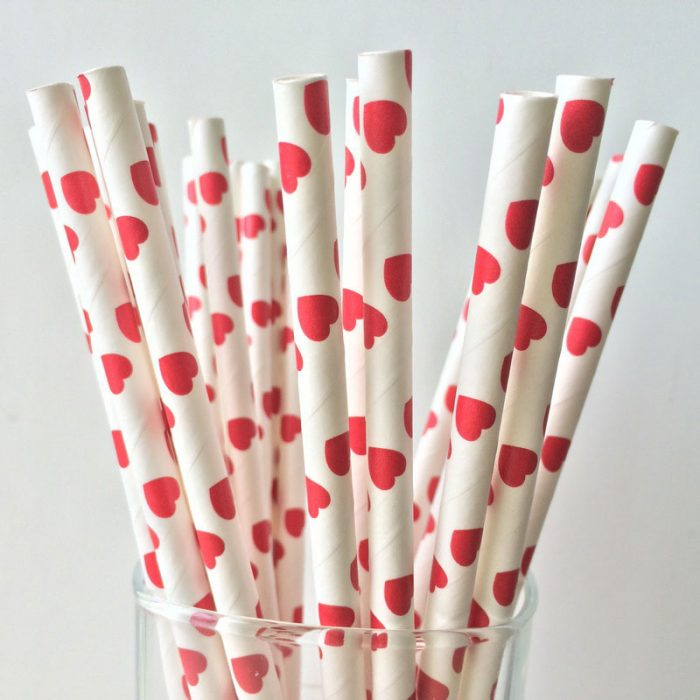paper straws red heart