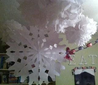 white snowflake decorations