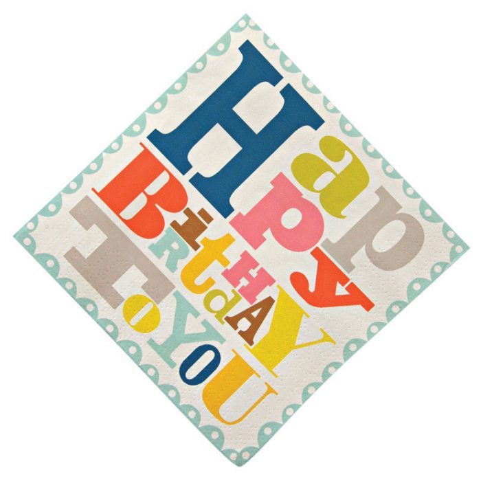 bright patterned happy birthday to you paper napkins