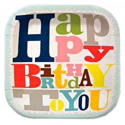 bright patterned happy birthday to you plates