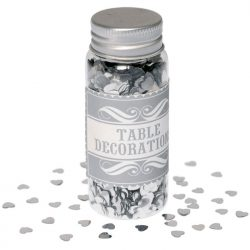 table confetti silver hearts