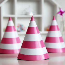 cone hat pink stripe