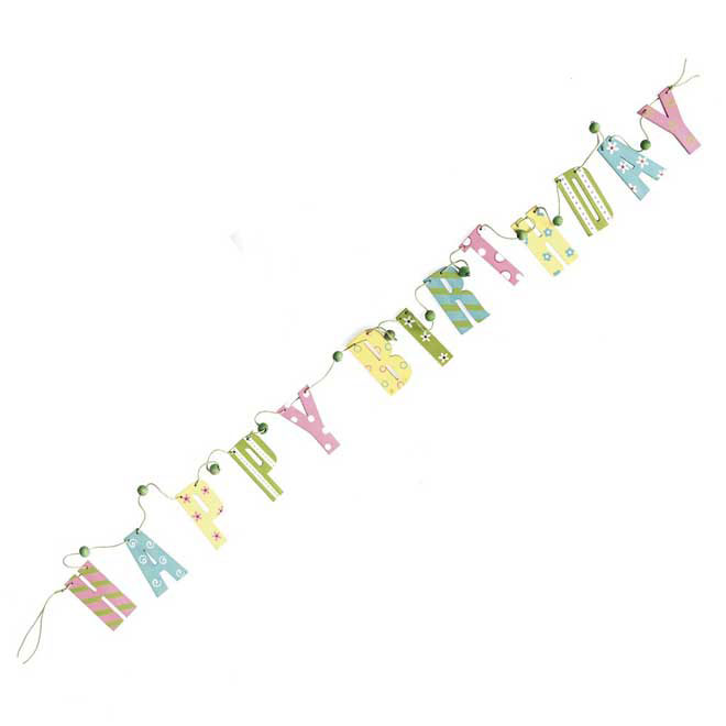 wooden happy birthday garland