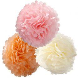 pastel tissue paper pom poms