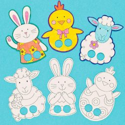 colour in finger puppets easter