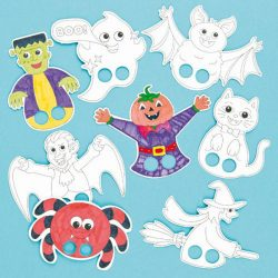 colour in finger puppets halloween