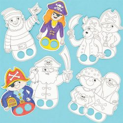 colour in finger puppets pirates