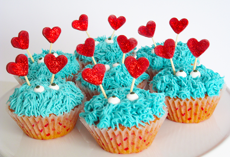 valentines monster cupcakes