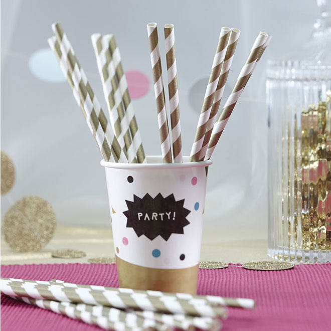 paper straws gold stripe