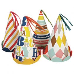 bright patterned happy birthday party hats