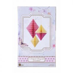 yellow pink diamond honeycomb party decorations packaging