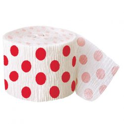 Red spotty crepe paper streamer