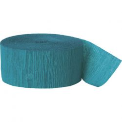 Teal blue crepe paper streamer