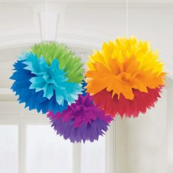 rainbow pom poms decorations