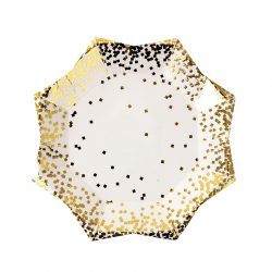 gold confetti plates