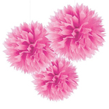 pink tissue pom pom decorations