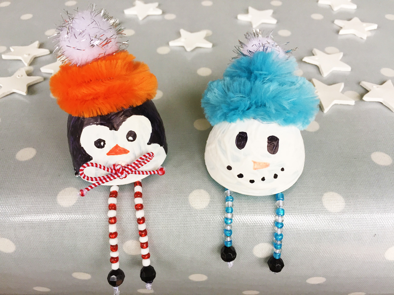 Christmas penguin and snowman decorations