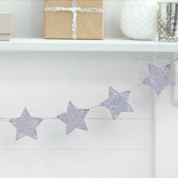 Silver glitter wooden star garland