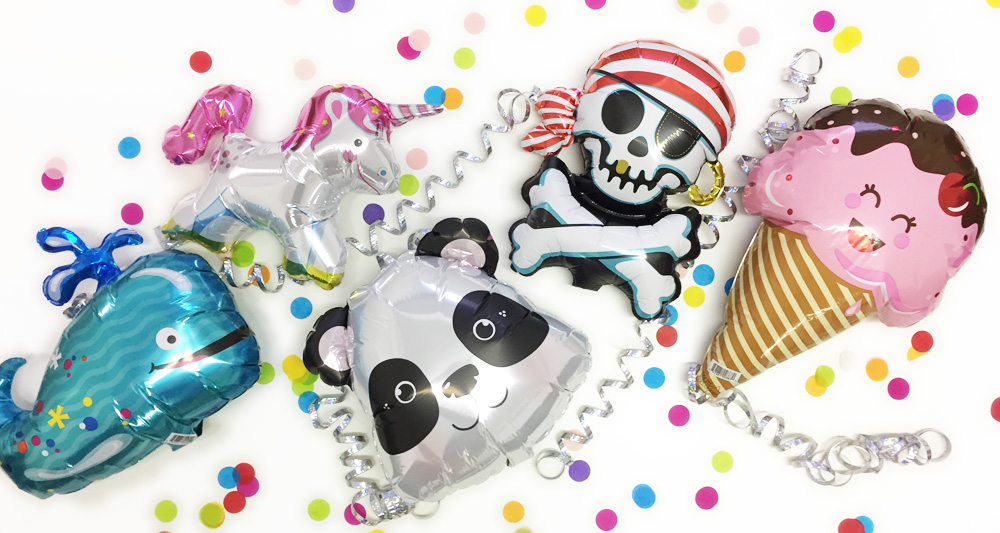 Whale, unicorn, panda, pirate, ice-cream foil balloons with bright confetti