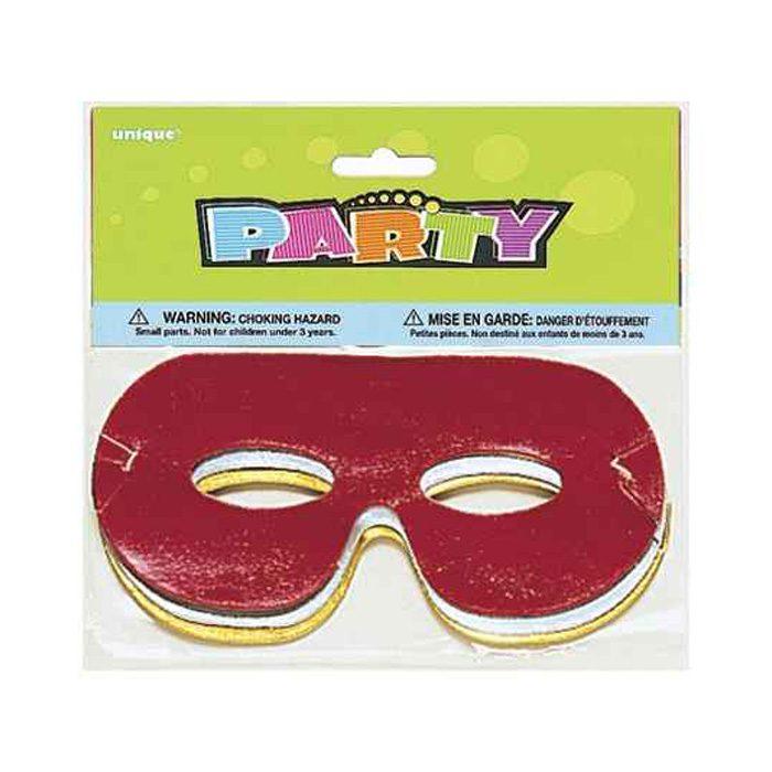 Metallic foil party eye masks