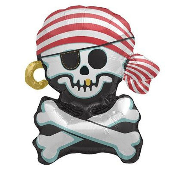 Small Jolly roger pirate foil balloon