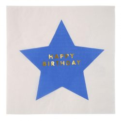 Jazzy Star Happy Birthday napkin, blue