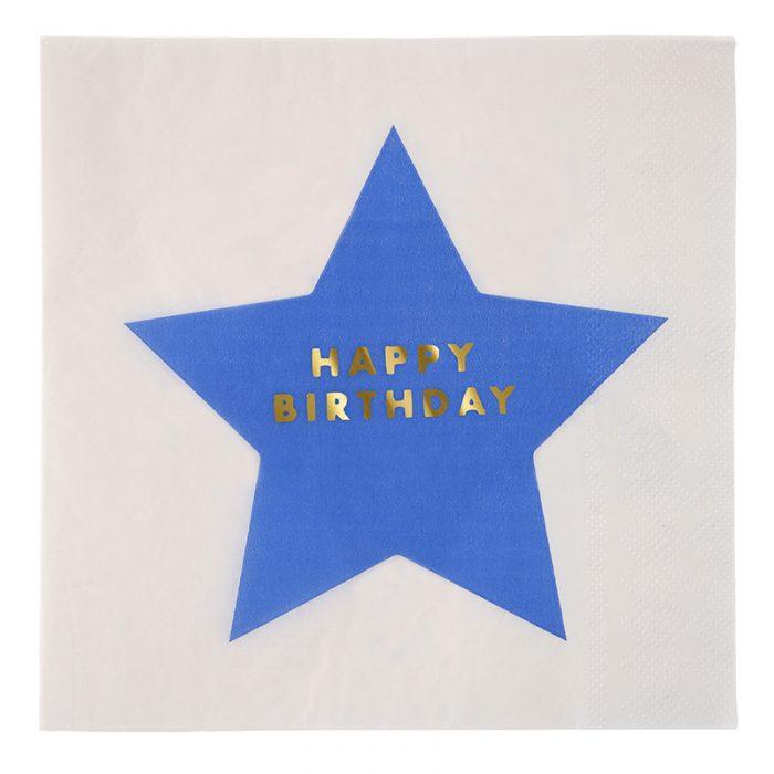 Jazzy Star Happy Birthday napkin, blue