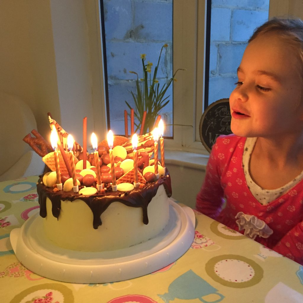 Blowing out candles on chocolate cake