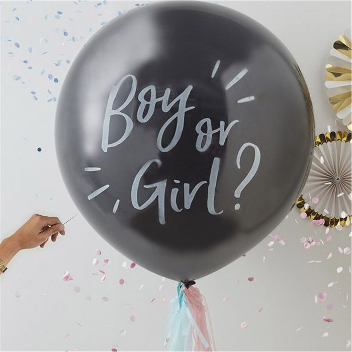 Black gender reveal balloon